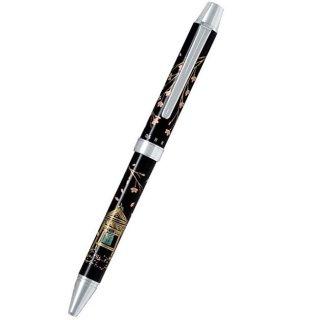 パイロット 複合筆記具(ボールペン黒0.7mm・赤・シャープ0.5mm)ツープラスワン雅蒔絵 サクラトショウロウ 桜と鐘楼 BTHM−3SR−SS