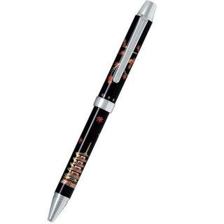 パイロット 複合筆記具(ボールペン黒0.7mm・赤・シャープ0.5mm)ツープラスワン雅蒔絵 モミジトゴジュウノトウ 紅葉と五重塔 BTHM−3SR−MG