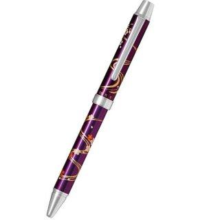 パイロット 複合筆記具(ボールペン黒0.7mm・赤・シャープ0.5mm)ツープラスワン雅蒔絵 リュウスイサクラ ムラサキ 流水桜 紫 BTHM−3SR−RSV