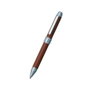 プラチナ万年筆 複合筆記具(ボールペン黒・赤・シャープ0.5mm)ダブル3アクション 牛本革巻き バスケットパターン キャメル MWBL−5000T