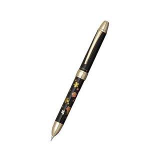 プラチナ万年筆 複合筆記具(ボールペン黒・赤・シャープ0.5mm)ダブルアクション R3 近代蒔絵 サクラ MWB−3000RM