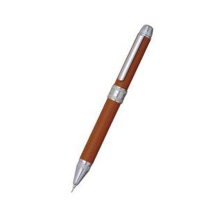 プラチナ万年筆 複合筆記具(ボールペン黒・赤・シャープ0.5mm)ダブル3アクション 牛本革巻き キャメル MWBL−3000