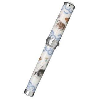 セーラー万年筆 万年筆 有田焼創業400年記念 香蘭社 染錦 遊犬の図(そめにしき ゆうけんのず) 銀 10−3054