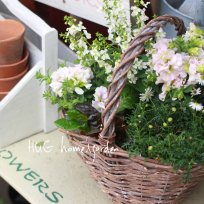 HUG garden 寄せ植え花苗『white&pink  set』かご付き