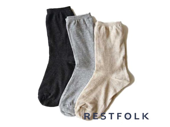 <img class='new_mark_img1' src='//img.shop-pro.jp/img/new/icons8.gif' style='border:none;display:inline;margin:0px;padding:0px;width:auto;' />【 RESTFOLK 】 Double SILK Socks Basic ( 3color )