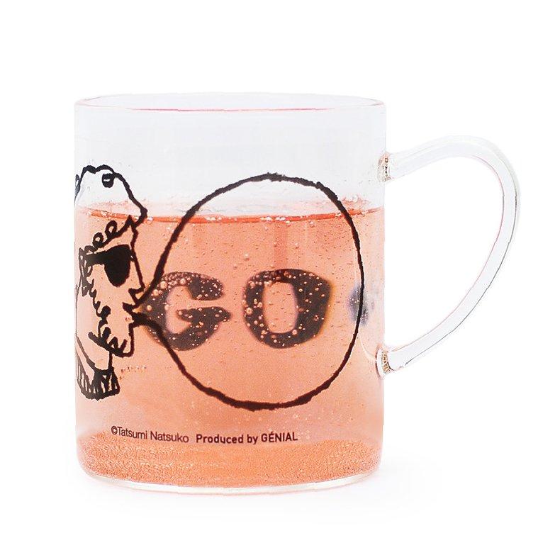 【Tatsumi Natsuko × GENIAL 】 Bubble-gum  耐熱ガラス Mug (Beard glasses)
