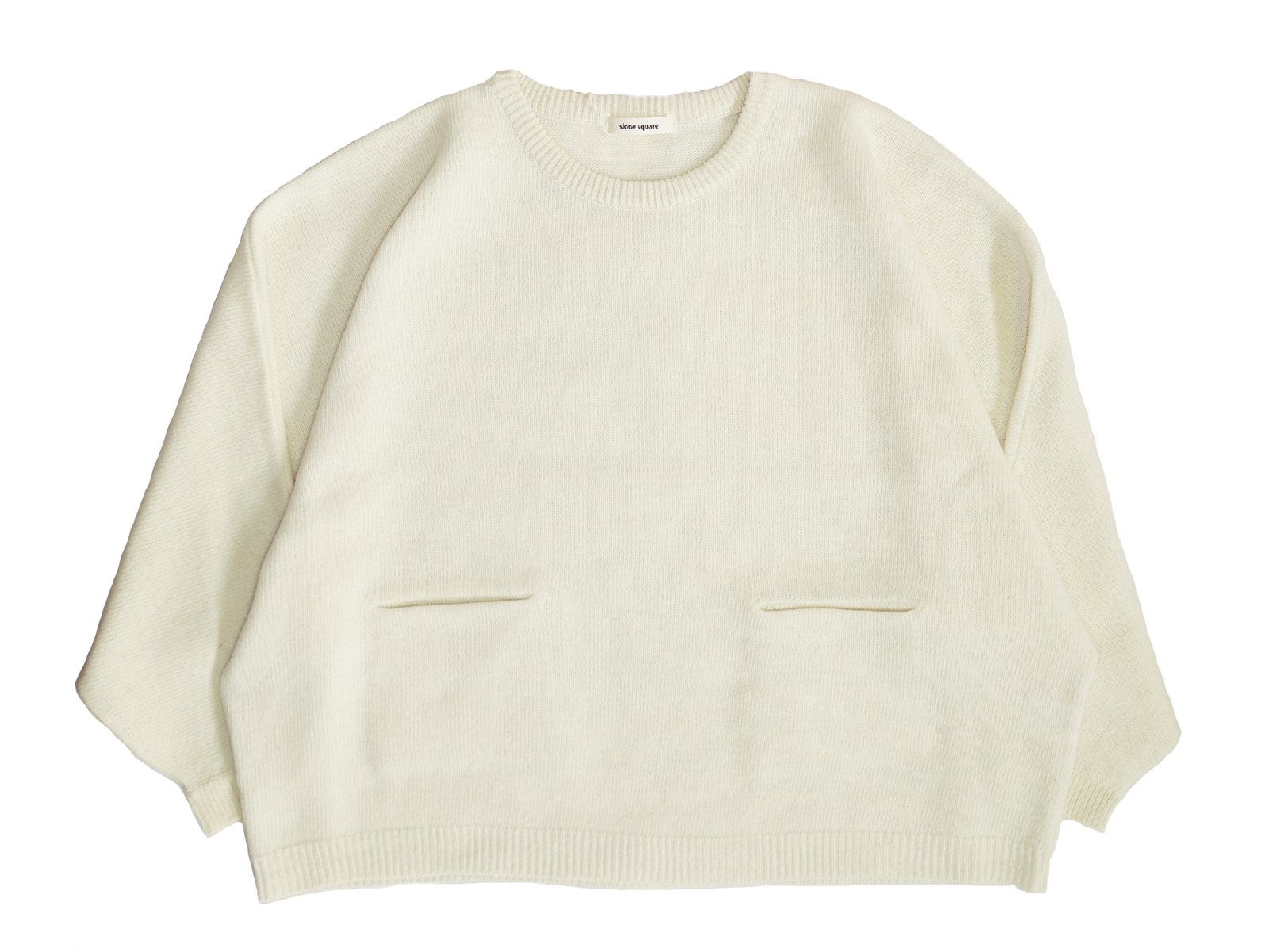 【slone square】Lamb wool Dolman pocket Sweater (OFF WHITE)