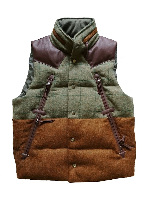 【makufuri / マクフリ】Mix Sweed Down Vest (BLUE GRAY CHECK x BROWN)