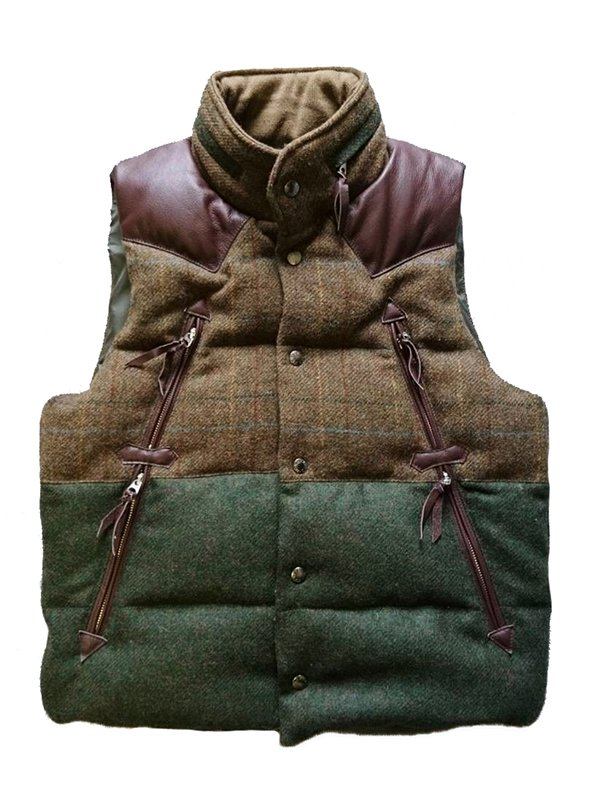 【makufuri / マクフリ】Mix Sweed Down Vest (BROWN CHECK x GREEN)