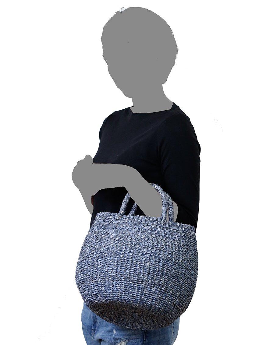 【Hummingbird】手編みアバカカゴバッグ S (BLUE)