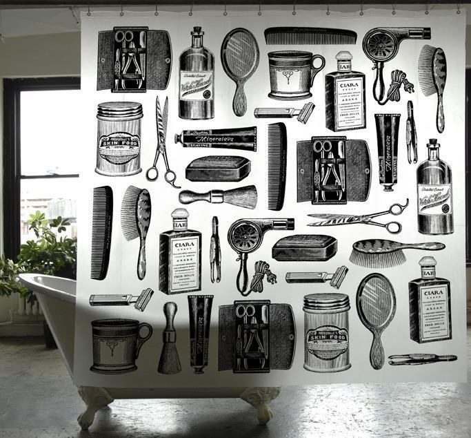 【IZOLA】Barbershop PEVA Shower Curtain