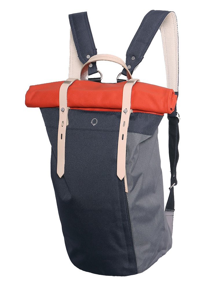 【STIGHLORGAN ; スティグローガン】 RORI Rolltop Laptop Backpack (Navy & Visibility Orange)