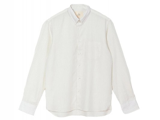 【LA PAZ(ラパス)】-LOPES- Chest pocket Shirt  (Blue Stripes)