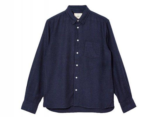 【LA PAZ(ラパス)】-LOPES- Chest pocket Shirt  (Navy)