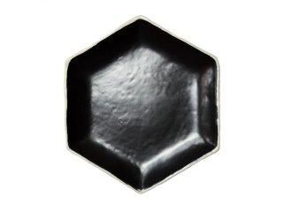 【セトヤキHEX】 プレート monochrome 瀬戸焼  (ブラック)