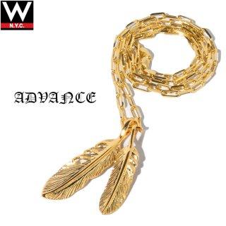ADVANCE(アドバンス) 925 シルバー ゴールド コーティング ダブル フェザー チェーン ネックレス