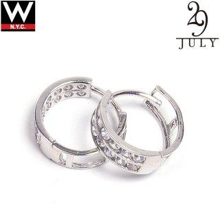 JULY 29(ジュライ トゥエンティー ナイン) 14金 ホワイトゴールド ジルコニア ピアス Sサイズ 2個セット