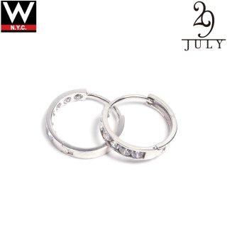 JULY 29(ジュライ トゥエンティー ナイン) 14金 ホワイトゴールド ジルコニア シングルリング ピアス Sサイズ 2個セット