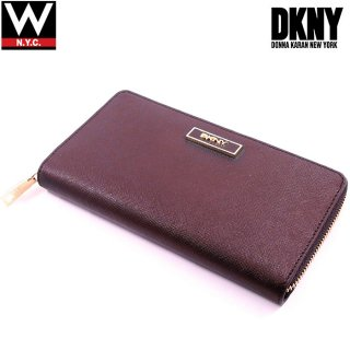 DKNY(ダナキャラン) ニューヨーク レザー ラウンドファスナー ロング ウォレット 長財布