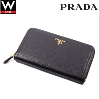 PRADA(プラダ) メタルロゴ付き ラウンドファスナー ロング ウォレット 長財布