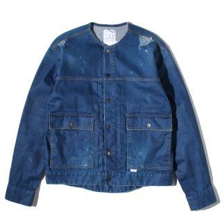 BLUEY (ブルーイ) ノーカラー クラッシュ デニム ジャケット