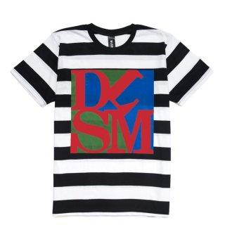 DLSM(ディーエルエスエム) ディーエルエスエム ボーダー プリント 半袖 Tシャツ