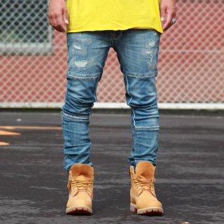 Nudie Jeans(ヌーディージーンズ) グリムティム カートレプリカ クラッシュ加工 デニムパンツ