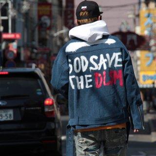DLSM(ディーエルエスエム) スプレー デニム ライダースジャケット
