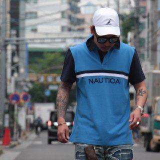 NAUTICA (ノーティカ) オリジナル ロゴ ストライプ ポロシャツ