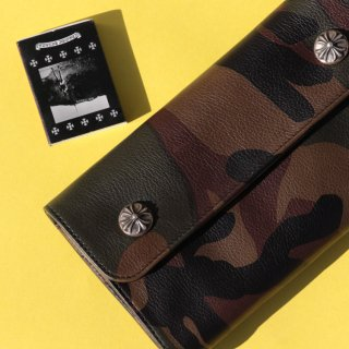 CHROME HEARTS(クロムハーツ) ウェーブ クロスボタン カモフラージュ ウォレット<br>Wave Wallet Cross Buttons Tankcamo Leather