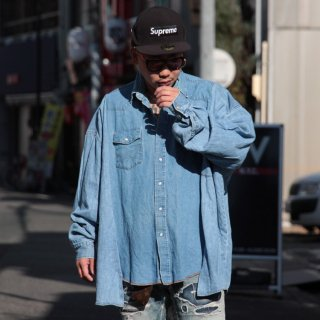 re:new(リニュー)ラングラー ヴィンテージ リメイク ワイド&ビック デニム シャツ<br>re:new Wrangler Vintage Remake Big&Wide Shirts 【d】