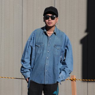 re:new(リニュー)ラングラー ヴィンテージ リメイク ワイド&ビック デニム シャツ<br>re:new Wrangler Vintage Remake Big&Wide Shirts 【4】