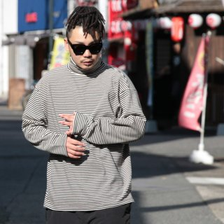 ADVANCE(アドバンス) ボーダー タートルネック 長袖 Tシャツ<br>ADVANCE BORDER LONG SLEEVE TURTLE NECK L/S TEE