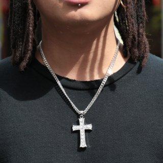 ADVANCE(アドバンス)クロス ホワイトゴールド コーティング 喜平 チェーン<br>ADVANCE Cross Silver White Gold Coating Curb chain