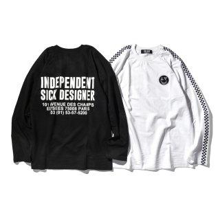 DLSM(ディーエルエスエム)シック デザイン L&P スマイル チェック ライン  長袖 Tシャツ