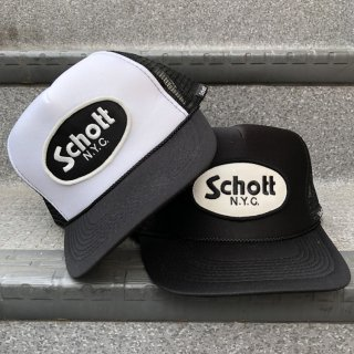 SCHOTT(ショット) ロゴ トラッカー スナップバック メッシュ キャップ<br>LOGO TRUCKER MESH CAP