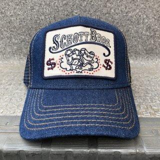 SCHOTT(ショット) ロゴ デニム トラッカー スナップバック メッシュ キャップ<br>LOGO DENIM TRUCKER MESH CAP
