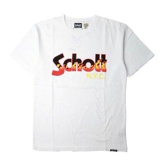 Schott(ショット)ファイヤーパターン ロゴ 半袖 Tシャツ<br>Schott FIRE LOGO S/S TEE