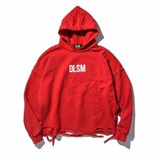 DLSM(ディーエルエスエム) ロゴ クラッシュ ダメージ フーディ