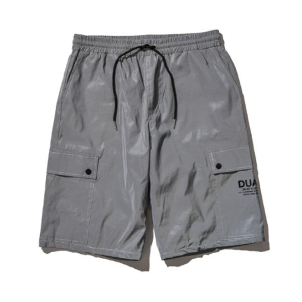 DUALISM BUTTON REFLECT CARGO SHORTS (SILVER)