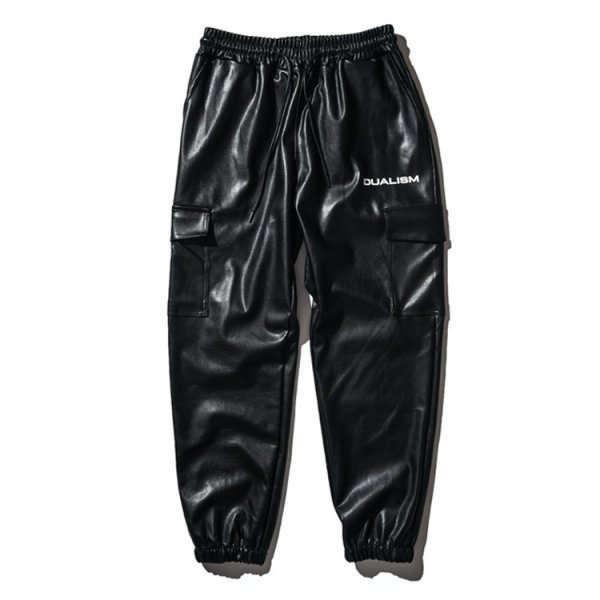 DUALISM REFLECT LOGO LEATHER JOGGER PANTS