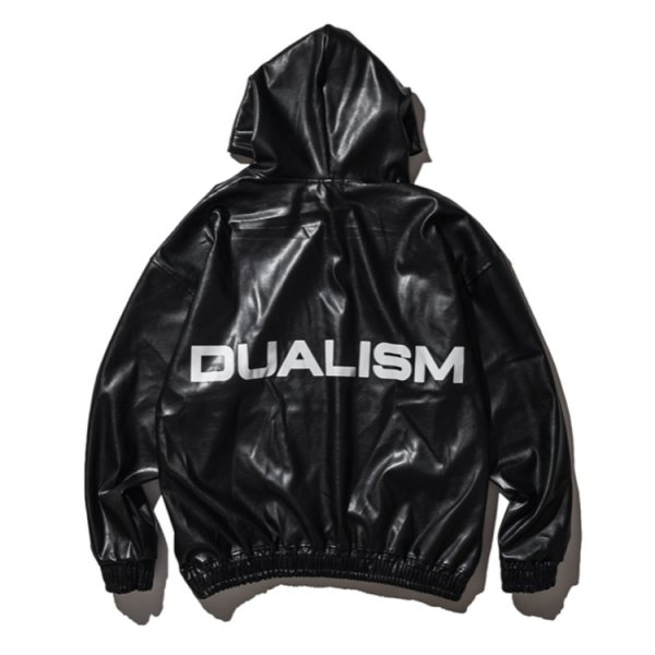 DUALISM REFLECT LOGO PU LEATHER HOODIE