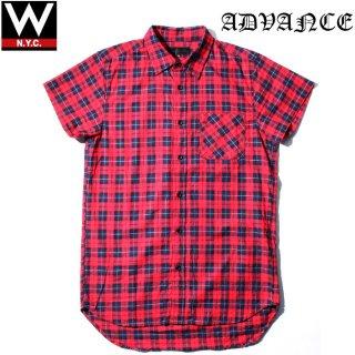 ADVANCE(アドバンス) TARTAN CHECKE LONG S/S SHIRT / タータンチェック ロング丈 半袖 シャツ / RED/NAVY