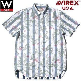AVIREX(アヴィレックス) ストライプ柄 花柄 半袖 ボタンダウン シャツ