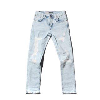 Nudie Jeans(ヌーディージーンズ) グリムティム アイスウォッシュ クラッシュ加工 ブルー デニムパンツ