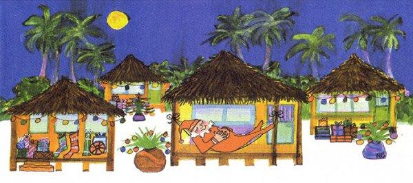 ナンシーチャンドラー グリーティングカード ワイドサイズ サンタズバンガロー