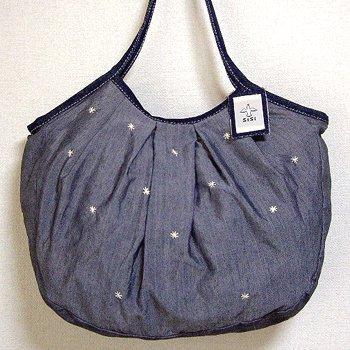 sisiグラニーバッグ 120%ビッグサイズ 刺繍 グレイ