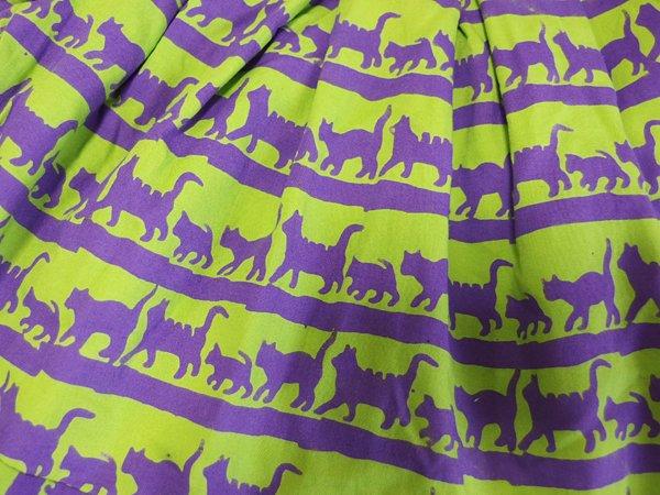 sisiグラニーバッグ 定番サイズ 猫柄バティック グリーン