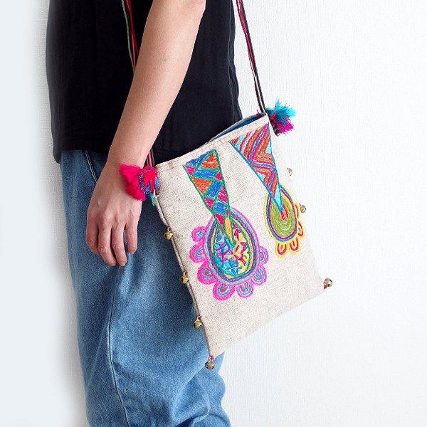 手織りコットンヘンプ手刺繍ショルダーバッグ 03A