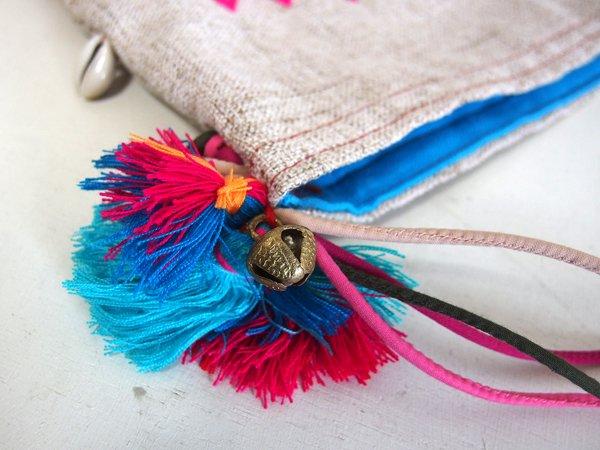 手織りコットンヘンプ手刺繍ショルダーバッグ